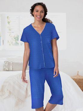 Karen Neuburger Girlfriend Navy Polka Dot Capri Pajamas