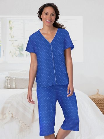 Karen Neuburger Girlfriend Navy Polka Dot Capri Pajamas - Image 3 of 3