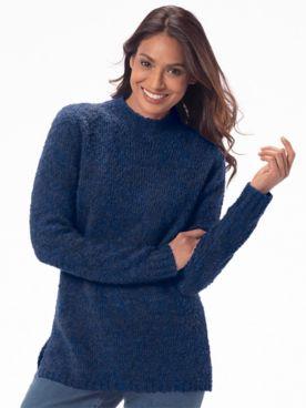Cuddle Bouclé Funnel-Neck Sweater