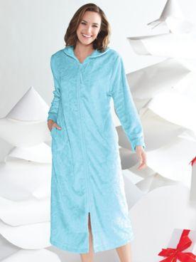 Karen Neuburger Embossed Zip-Front Robe