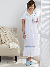 Embroidered Daisy Nightgown by La Cera