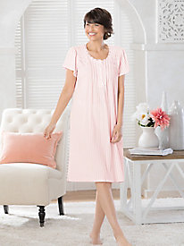 Silky Knit Solid Short Sleeve Nightgown
