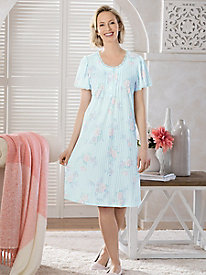 Silky Knit Print Short-Sleeve Nightgown