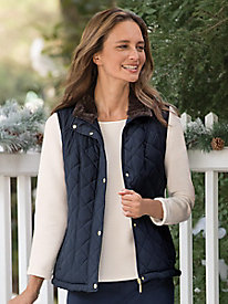 Weatherproof Faux Fur Lined Quilted Vest