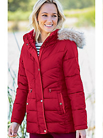 Larry Levine Puffer Coat with Faux Fur Trim