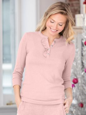 Go With The Flow Rib Knit Henley Top