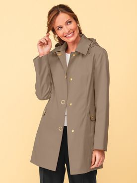Anne Klein Hooded Raincoat