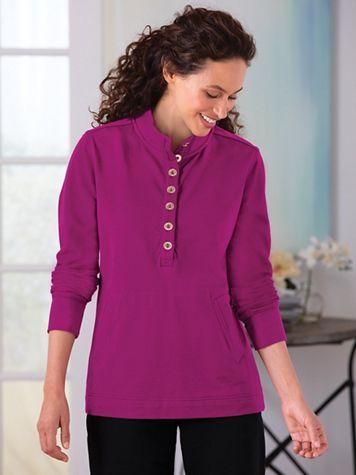 Button-Placket Fleece Top - Image 1 of 5