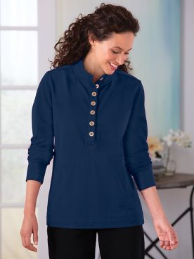 Button-Placket Fleece Top
