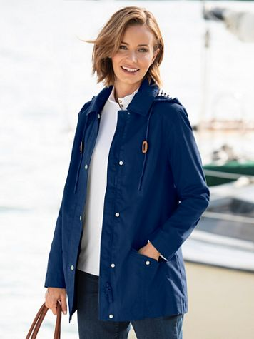Water-Resistant Cotton Rain Coat - Image 1 of 5