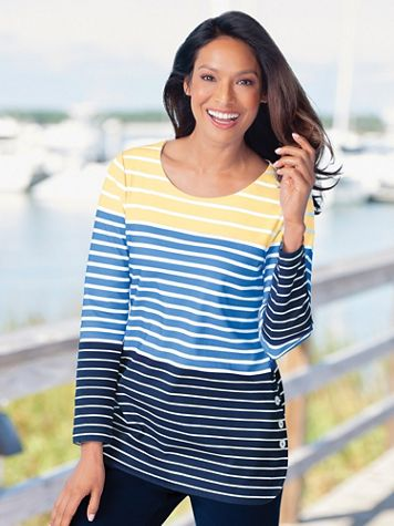 Everyday Knit Striped Long-Sleeve Tunic - Image 1 of 2