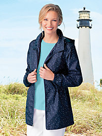 Packable Dot Print Hooded Anorak