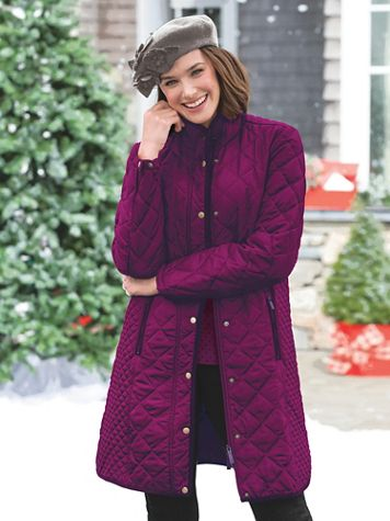 Water-Resistant Diamond-Quilted Three-Quarter Length Coat - Image 1 of 4