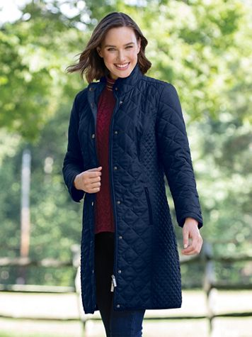 Water-Resistant Diamond-Quilted Three-Quarter Length Coat - Image 1 of 2