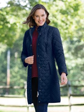 Water-Resistant Diamond-Quilted Three-Quarter Length Coat