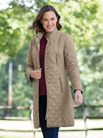 Water-Resistant Diamond-Quilted Three-Quarter Length Coat - Image 4 of 4