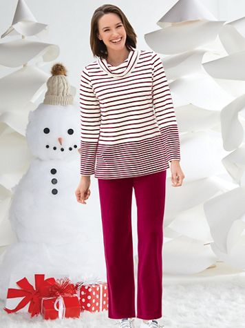 Striped Velour Cowlneck Lounge Set - Image 1 of 4