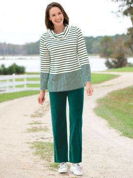 Striped Velour Cowlneck Lounge Set