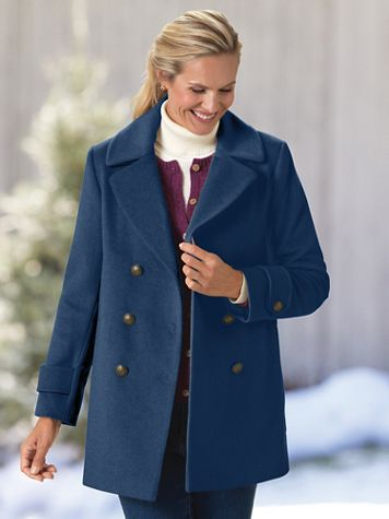 Larry Levine® Wool Peacoat - Image 1 of 4