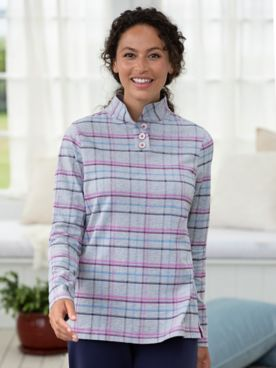 Plaid Knit Stand-Collar Popover