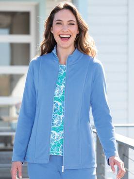 Floral-Trim Knit Jacket