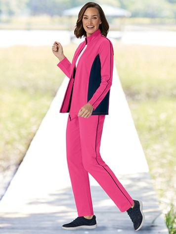 On-The-Go Color-Block Knit Active Set - Image 1 of 5