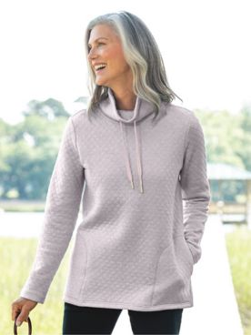 Quilted-Knit Funnel-Neck Active Pullover
