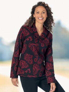 Paisley Jacquard Knit Shawl-Collar Top
