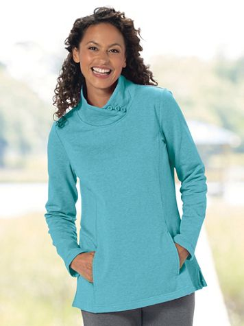 Heathered Fleece Button-Mock Pullover - Image 1 of 4
