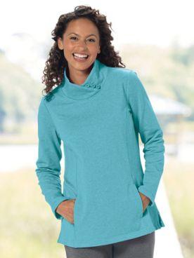 Heathered Fleece Button-Mock Pullover
