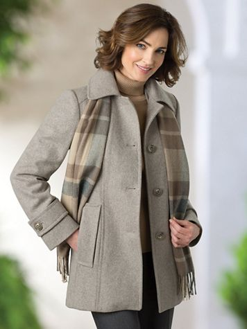 Wool Coat with Scarf - Image 1 of 9