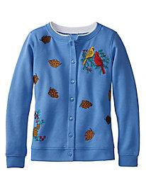 Embroidered Holiday Fleece Cardigan