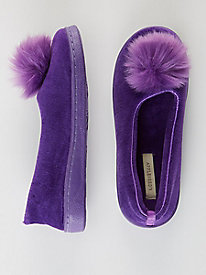 Velour Poof Slippers