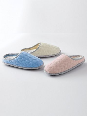 Dearfoams Cable Quilted Clog Slippers