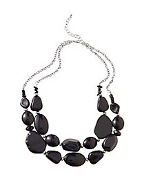 Vintage Style Jewelry, Retro Jewelry Riverstones Necklace $8.97 AT vintagedancer.com
