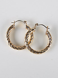 Gold Twist Hoop Earring