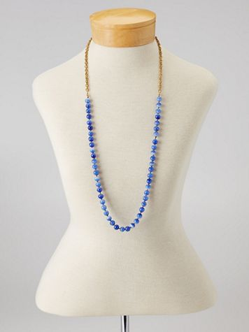 Long Beaded Blue Necklace - Image 1 of 2