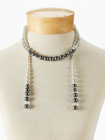 Ombre Pearl Tassel Necklace - Image 2 of 2