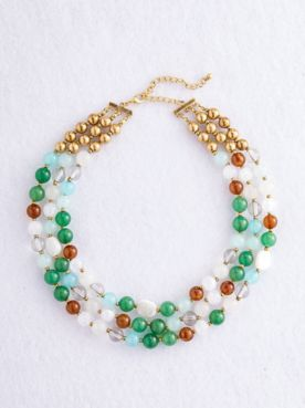 Three Strand Multi Bead Necklace