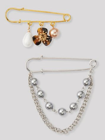 Pearl & Chain Pin - Image 1 of 4