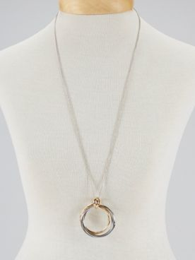 Two-Tone Interlocking Circle Pendant Necklace