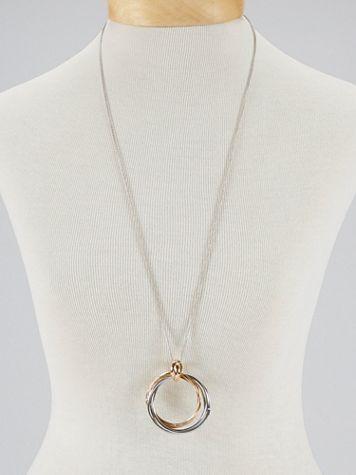 Two-Tone Interlocking Circle Pendant Necklace
