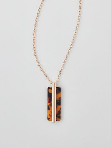 Tortoise-Look Long Pendant Necklace - Image 0 of 2
