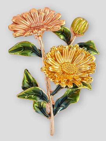Sunflower Bouquet Enamel Pin - Image 1 of 2