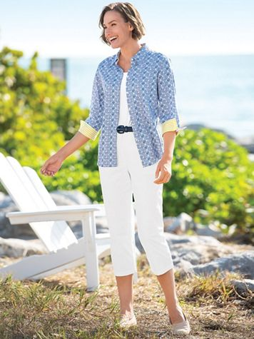 Dennisport Button-Cuff Capris - Image 1 of 12