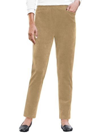 Corded Knit Velour Pull-On Pants - Image 1 of 10