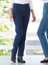 Knit Denim Straight-Leg Jeans