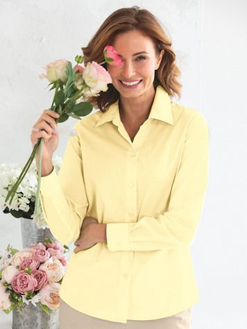 Foxcroft For Appleseeds Perfect-Fit Long-Sleeve Shirt - Image 1 of 30
