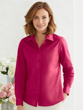 Foxcroft For Appleseeds Perfect-Fit Long-Sleeve Shirt