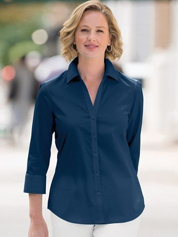 Foxcroft Appleseed's Perfect-Fit 3/4-Sleeve Shirt - Image 6 of 7